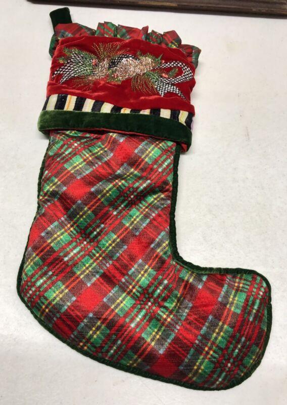 MACKENZIE-CHILDS Holiday Tartan Christmas Stocking - Store Displayed