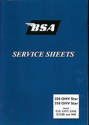 BSA C15 B40 C15T C15SS C Swinging Arm Service Sheets Set  Manual 1958-1966