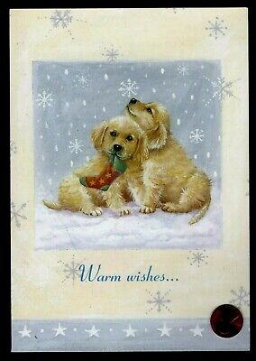 CHRISTMAS Puppy Dogs Stocking Snow Flakes - LARGE - Christmas Greeting Card NEW - Large Christmas Stocking