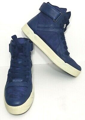 Gucci High Top Guccissima Sneakers Nylon & Leather 409766 Blue 12G / US 13