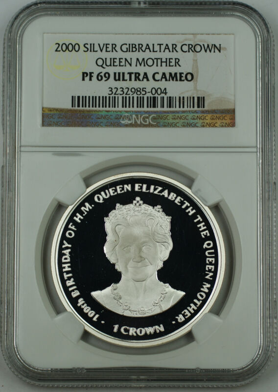 2000 Gibraltar Silver Crown Proof Coin, NGC PF-69 UC, Elizabeth, Queen Mother