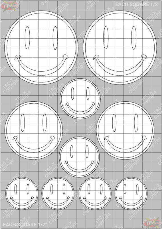 TRC8065W Smiley Face Hobby Water Painting Stencil Craft Airbrush Mask