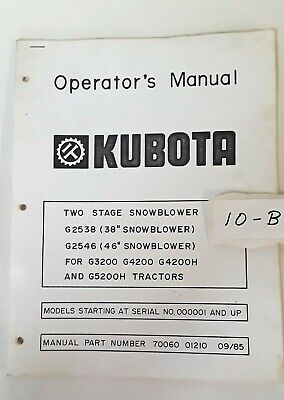 Kubota Two Stage Snowblower G2538 G2546 Operators Manual
