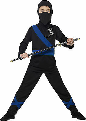Ninja Dragon Fighter Kinderkostüm schwarz-blau NEU - Jungen Karneval Fasching Ve (Dragon Kostüm Kinder)