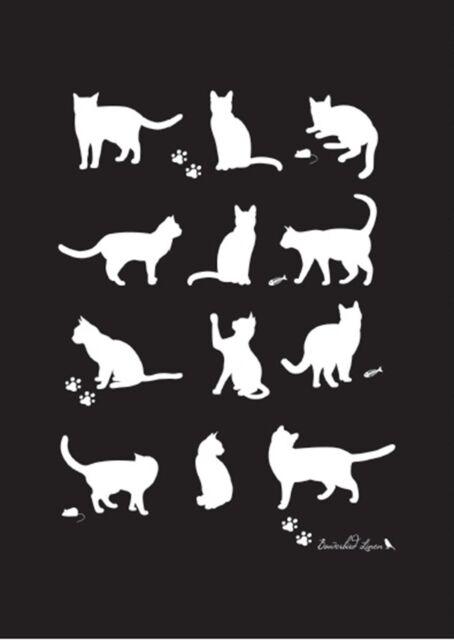 Cat Linen Tea Towel - Waiting Cats Black White Cats Printed in Australia