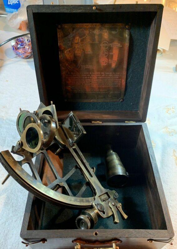 C. Plath Hamburg Germany 1905 Brass Sextant In Box Reproduction