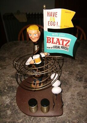 Vintage Blatz Egg and a Beer Bottle Advertising Figure Bar Top Display RARE