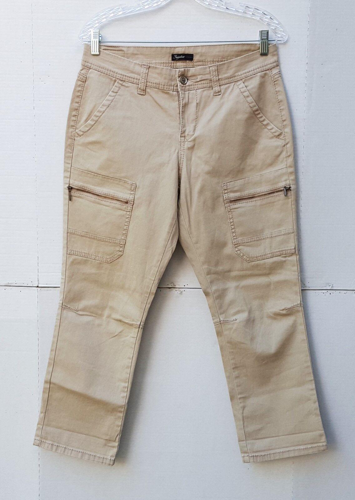 Skinny Stretch Cargo Capri Cropped Pants Size 10 Khaki