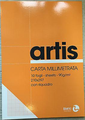 Stock 10 Album di CARTA MILLIMETRATA da 10 Fogli Formato A4 Grammatura 90 g/m^2