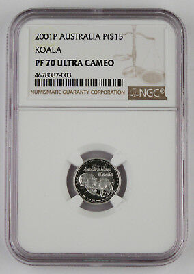 Australia 2001 P 1/10 Oz 9995 Platinum $15 Koala Proof Coin NGC PF70 Ultra Cameo