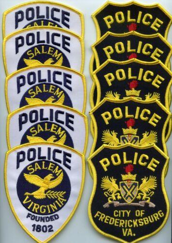 SALEM & FREDERICKSBURG VIRGINIA Trade Stock 10 Police Patches POLICE PATCH