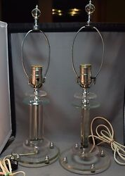 Mid-Century Modern Pair of Lucite & Chrome Vintage Electric Table Lamps! RARE!