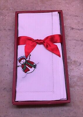 WINDHAM WEAVERS CHRISTMAS SET OF 4 EMBROIDERED WHITE WITH SNOWMAN NAPKINS NWT