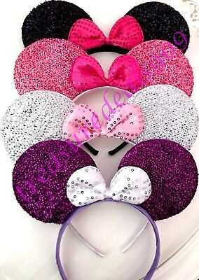 4 Pc MIX SHINY MINNIE MOUSE EARS HEADBANDS BLACK PINK SILVER PURPLE Party Favors](Pink Minnie Mouse)
