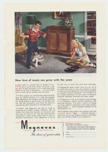 Vtg. Magnavox Cabinet Radio Phonograph Photo Lithograph Ad Man Cave Decor