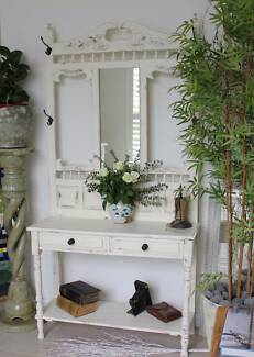 Carved white hall stand with mirror Sorrento Joondalup Area Preview