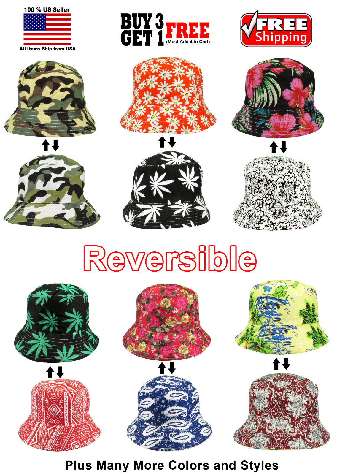 Men Women Boonie Brim Fashion Summer Beach Reversible Pattern Bucket Hat Cap Clothing, Shoes & Accessories