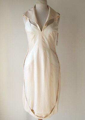 HUSSEIN CHALAYAN Peach Ivory Silk Cut Out Sculpted Dress 42 6 8