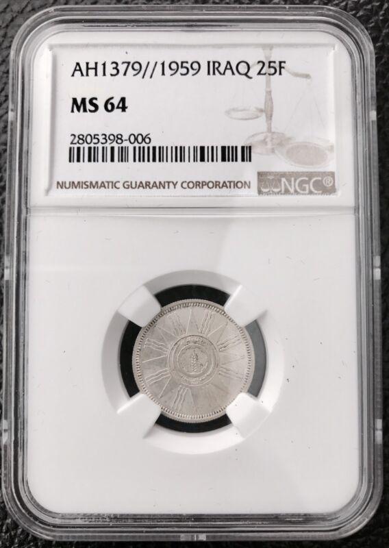 Iraq-1959 25 Fils Graded NGC MS64