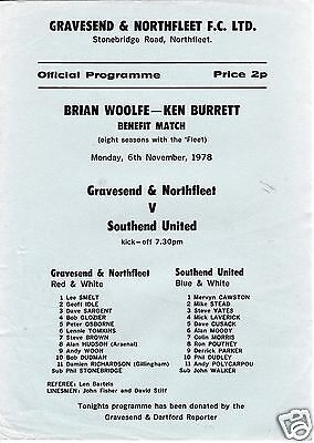 GRAVESEND & N  V  SOUTHEND UTD  BRIAN WOOLFE KEN BURRETT BENEFIT MATCH  6/11/78