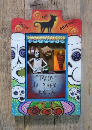 Tacos of Death Day of the Dead Wood Retablo Handmade & Painted Mexican Folk Art