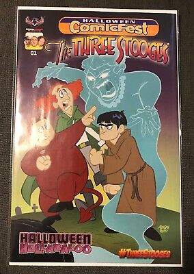 The Three Stooges Halloween Hullabaloo Comicfest 2017 American Mythology NM - Three Stooges Halloween