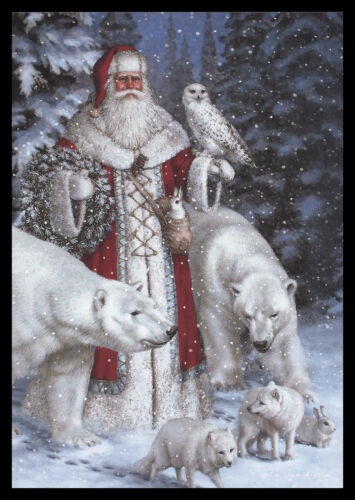 1084GC Liz Goodrick Dillon - Bear Fox Owl Rabbit Santa - Christmas Greeting Card
