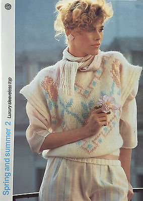 Vintage KNITTING PATTERN Ladies Slipover Top Rose Motif SweaterLister 1986