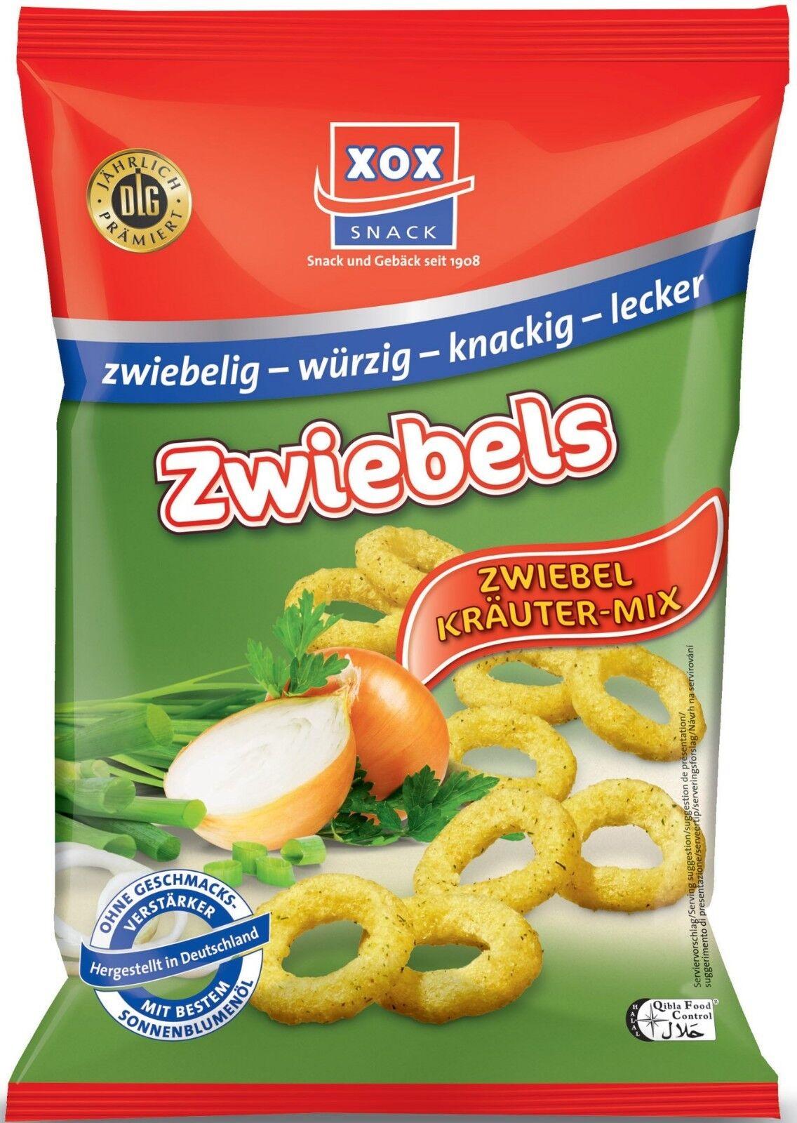 (100g=1,49€) XOX Zwiebels Zwiebelringe Mais Snack mit Zwiebel Kräuter Mix - 100g