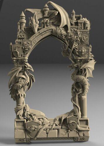 3D STL Model # ORIGINAL FRAME 7 DRAGONS # for CNC Aspire Artcam 3D Printer