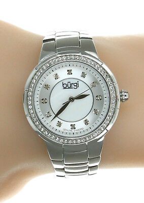 Women's Burgi BUR093SS Swiss Diamond Dial Stainless Steel Watch