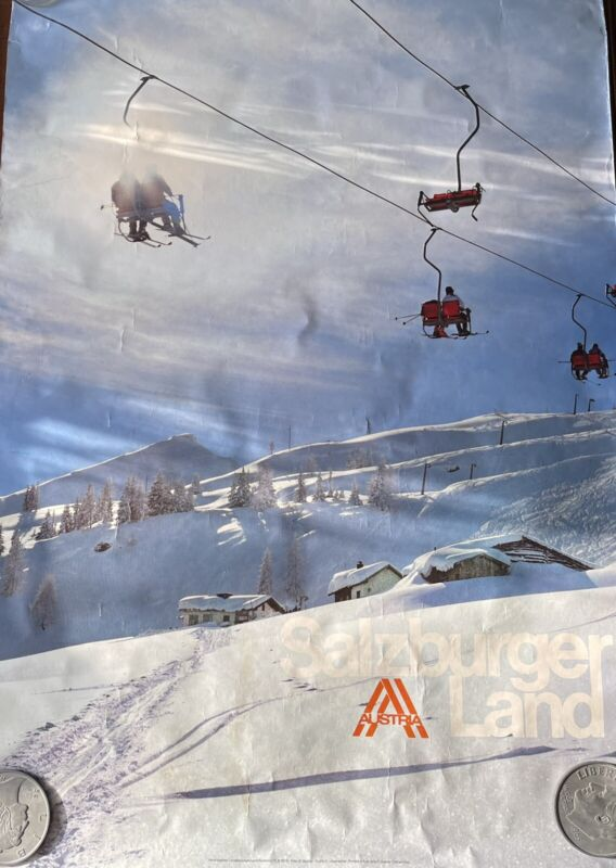 "Authentic Original 1980 ""Salzburger Land"" AUSTRIA Ski Travel Promotion Poster"