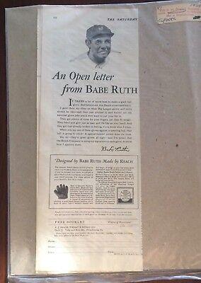 - Vintage Babe Ruth 1929 Reach Glove Ad Baseball New York Yankees