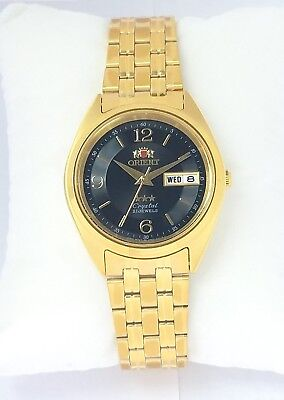 ORIENT 3 Star Automatic Watch Mens Gold tone watch BLACK dial FAB0000CB9 New