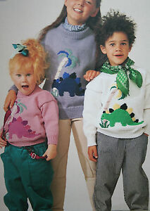Boys and Girls Jumper with Dinosaur Motif Knitting Pattern