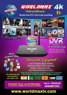 WORLDMAX TV 4K 64BIT 8GB QUADCORE - INDIAN IPTV BOX  2YR WARRANTY