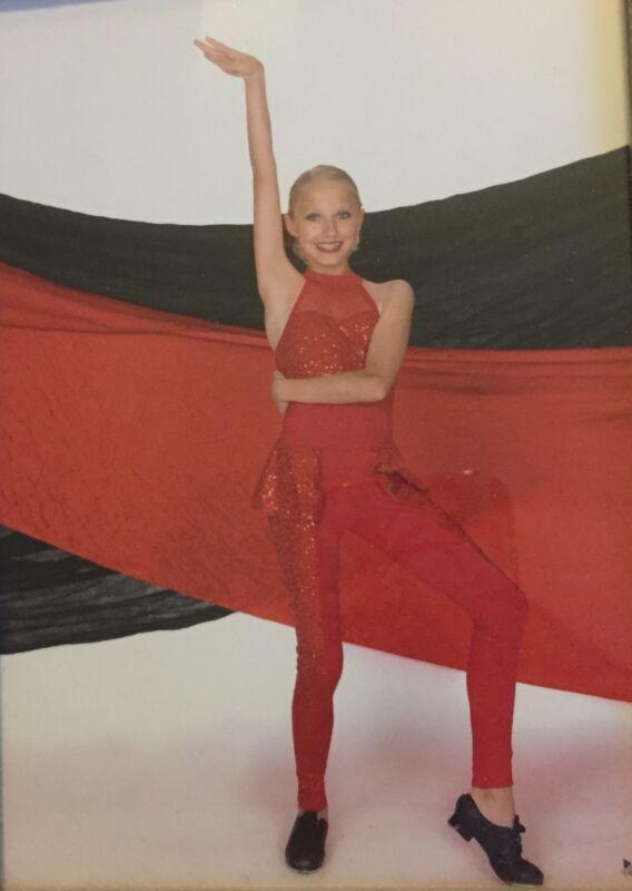 Girls Weissman  Jazz Dance Gymnastics Red 4 piece Costume Large Child