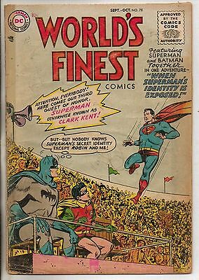 DC Comics Worlds Finest #78 Sept October 1955 Superman & Batman Very Rare G+