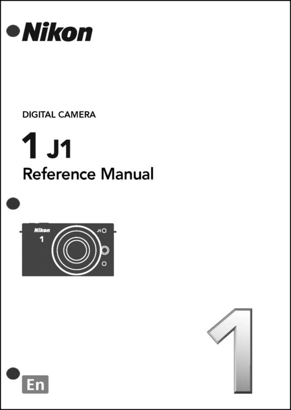 Nikon 1 J1 Reference Digital Camera User Guide Instruction  Manual