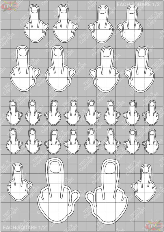 TRC8167W Middle Finger Hobby Water Painting Stencil Craft Airbrush Mask
