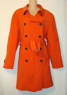 ANNE KLEIN WOMENS ORANGE DOUBLE BREASTED TRENCH COAT SIZE XL  BC