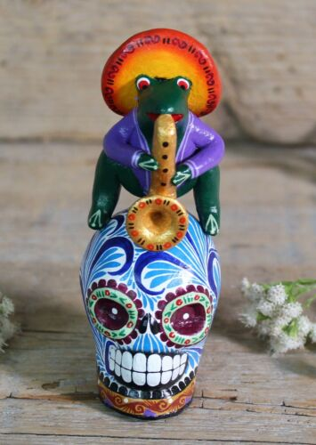 Tiny Frog playing Sax on Sugar Skull Day of the Dead Handmade Mexican Folk Art