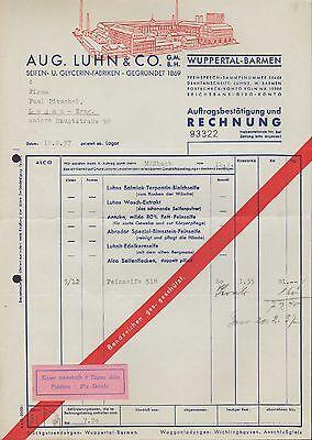 WUPPERTAL-BARMEN, Rechnung 1937, Seifen-Fabriken Aug. Luhn &