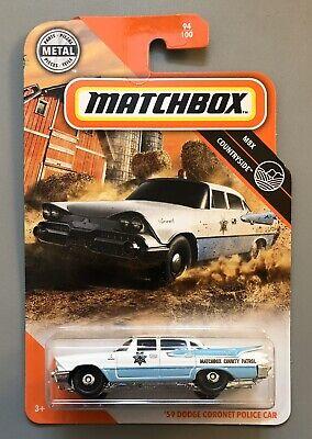 Matchbox 2020 '59 Dodge Coronet Police Car 94/100 MBX Countryside Blue White