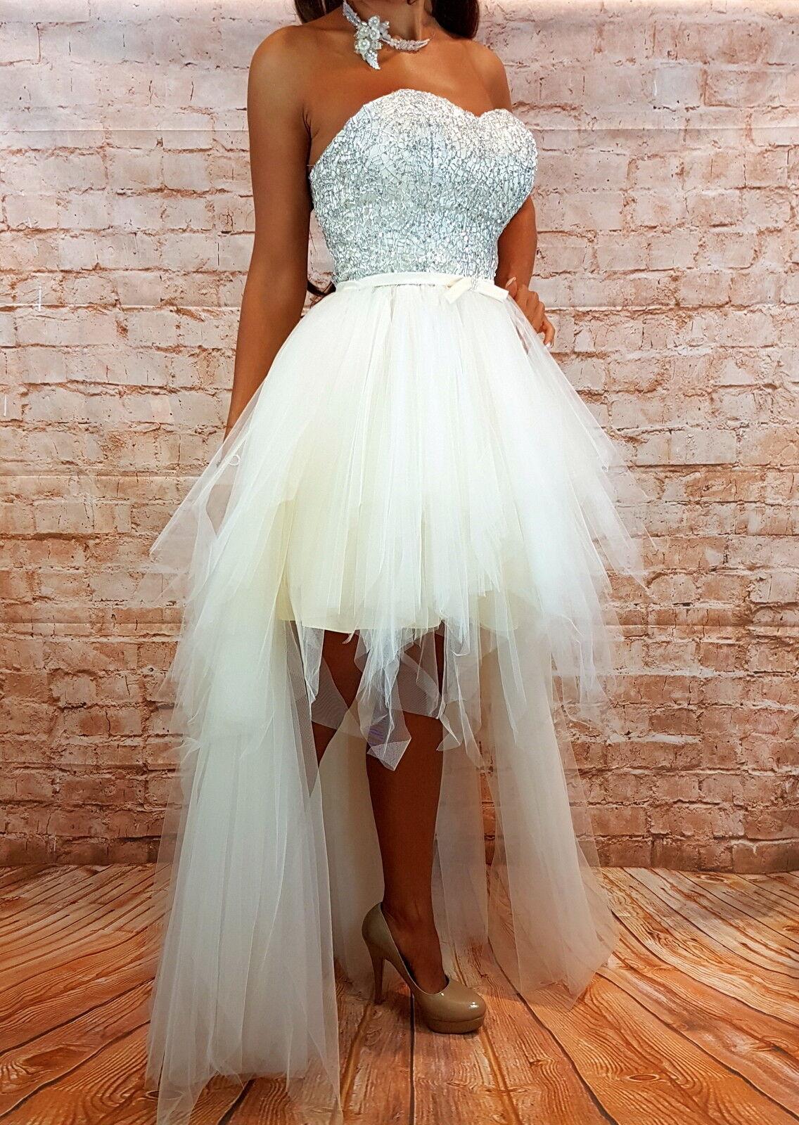Hochzeitskleid kurz Brautkleid Hochzeit Braut Corsage Kleid Gr.34,36 creme