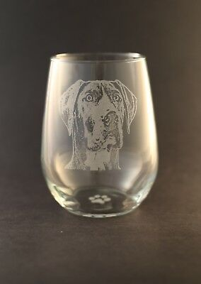 Etched Great Dane Natural Eared on Large Elegant Stemless Wine Glasses  Set of 2