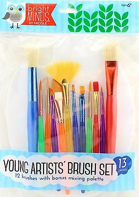 Young Artist Kids Paint Brush Set with Palette 12 Brushes
