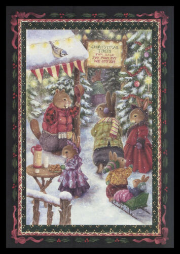 1075GC Susan Wheeler - Beaver Bird Rabbit - Christmas Greeting Card