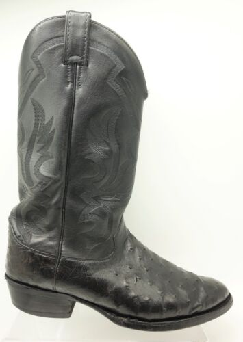 Justin, Black, Leather, Full, Quill, Ostrich, Classic, Cowboy, Western, Boots, Mens, 11, EE