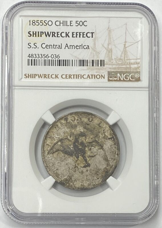 1855 SO Chile 50c Silver (50c Centavos) NGC Shipwreck Effect SS Central America